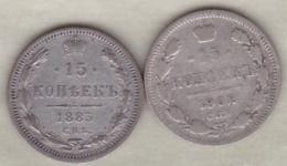 Russie . 2 Pièces De 15 Kopeks 1883 Et 1902. Argent. - Russia