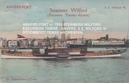 ANVERS PORT +/- 1910 STEAMERS WILFORD EXCURSION TAMISE - ANVERS, S.S. WILFORD VI / STOOMBOOT TEMSE ANTWERPEN - Antwerpen