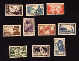 FRANCE  1940 10 Timbres Neufs GF N° 451 à 457 Et 459 à 461  ( 459 Avec Trace De Charnière )  Cote 106€ - Nuevos