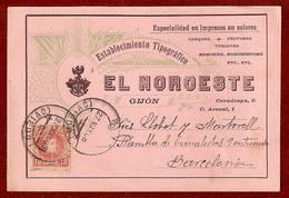 N.º 243. Tarjeta Comercial De El Noroeste De Gijón. Circulada De Oviedo A Barcelona El 27 De Mayo De 1908 - 1889-1931 Kingdom: Alphonse XIII