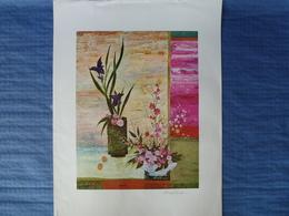 Lithographie Signée Pophillat - Les Ruelles - 71 X 51 Cm - Lithographies