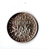 FRANCE . 50 CENTIMES SEMEUSE 1918 . ARGENT - Réf. N°191B - - France