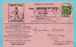 N°56 Op Kaart Zaadhandelaar Goedertier, Afst. WETTEREN 10/09/1908 Naar Roeselare / Maselis - 1893-1907 Armoiries