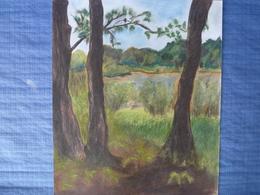 Pastel Original Signé G. Mouret  - La Clairière (1992) - 54 X 45 Cm - Pastels