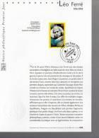 """"""" LEO FERRE """" Sur Notice Officielle 1er Jour De 2001. N° YT 3392 . Parfait état. FDC - Chanteurs"""