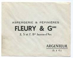 LETTRE  ARGENTEUIL FLEURY&Gdre  ASPERGERIE Et PEPINIERES - 1921-1960: Moderne