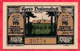 Allemagne 1 Notgeld 25 Pfenning Stadt Ballenstadt UNC Lot N °823 - 1918-1933: Weimarer Republik