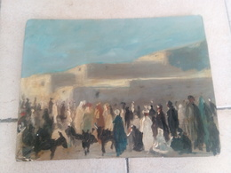 Le Marché Saharien Peinture Orientaliste 20 Cm Sur 26 19e Debut 20e - Oleo