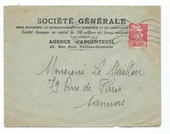 LETTRE  ARGENTEUIL  SOCIETE GENERALE Agence Argenteuil - Marcophilie (Lettres)