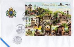 San Marino 2011 FDC Minifoglio Serie Turistica Chiese, Torri, Palazzo Del Governo, Porte - Vacances & Tourisme