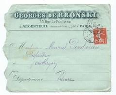LETTRE  ARGENTEUIL  GEORGES De BRONSKI  Rue De Pontoise - 1921-1960: Moderne