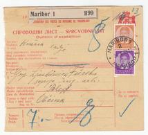 Yugoslavia, Sprovodni List Parcel Card Travelled 1938 Maribor To Bled B180425 - Slovenia