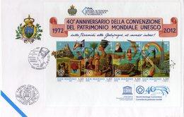 San Marino 2012 FDC BF 40° Anniv. Convenzione Del Patrimonio Mondiale UNESCO Piramidi, Galapagos Arte - UNESCO