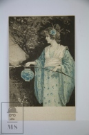 Original Illustrated Postcard Women In Kimono Dress Holding Lantern  - Early 20th Century - 1900-1949