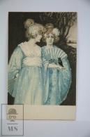 Original Illustrated Postcard Pair Of Women In Kimono With Blue Bird  - Early 20th Century - Ilustradores & Fotógrafos