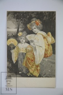 Original Illustrated Postcard Women & Little Girl In Kimono With Fans  - Early 20th Century - Yellow Tones - 1900-1949