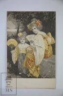 Original Illustrated Postcard Women & Little Girl In Kimono With Fans  - Early 20th Century - Yellow Tones - Ilustradores & Fotógrafos
