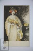 Original Illustrated Postcard Women & Little Girl In Kimono With Fan & Lantern  - Early 20th Century - Yellow To - Ilustradores & Fotógrafos