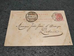 NETHERLANDS STATIONERY CARD ROTTERDAM TO LISBON PORTUGAL 1903 REGISTERED - Postal Stationery