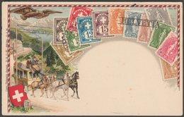 Dreizehn Verschiedene Schweiz Helvetia Briefmarken, C.1905 - Ottmar Zieher AK - Stamps (pictures)