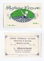 Parfums Coryse, Paris, Carte Parfumée, Montluçon, Grande Pharmacie De Paris L. Beauvisage - Perfume Cards
