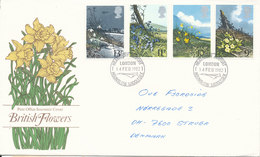 Great Britain Post Office Souvenir Cover Complete Set FLOWERS Heathrow Airport 14-2-1982 - Covers & Documents