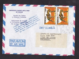 Senegal: Cover To Netherlands, 1989, 2 Stamps, Fighting Sports, Wrestling, Fight, Rare Real Use (traces Of Use) - Senegal (1960-...)