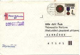 Czechoslovakia Registered Cover Horni Berkovice 19-2-1987 Single Franked - Czechoslovakia