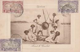 Djibouti - Avant Le Combat Carte écrite Et Voyagée En 1910 - Djibouti