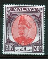 Malaya Selangor 30 Cent 1949 Scarlet And Purple Mounted Mint Stamp. - Selangor