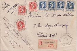 """ALGERIE : REC . PAR AVION . AFFRT A 7.50 F . """" AINELIBEL """" . POUR PARIS . 1945 . - Algeria (1924-1962)"""