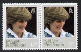 3937 Falkland Islands Dependencies 1982 Princess Di's 21st Birthday 17p Pair Perf 13.5 Variety Unmounted Mint (SG 109a) - Royalties, Royals