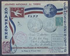 Enveloppe Locale Journee Du Timbre 1942 Les Riceys Mercure Taxe - France