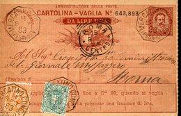 33223g  Italia 1893 Cartolina Vaglia Da Lire Una,da Mercatino Conca Pesaro - 1900-44 Victor Emmanuel III.