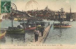 CPA Animée De 1909 : Marseille (13) - Le Vieux Port En Couleur - Vieux Port, Saint Victor, Le Panier