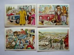 4 Chromos  Super Chocolat JACQUES - AUTOS 1964 Dans Le MONDE - RENAULT 8 - MERCEDES - VOITURE DE POLICE - Jacques
