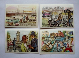 4 Chromos  Super Chocolat JACQUES - AUTOS 1964 Dans Le MONDE - AMPHIBIE  BOBBY - AGENT MOTOCYCLISTE-DEPART VACANCES - Jacques