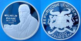 BENIN 1000 F 2006 ARGENTO PROOF 999 SILVER RARE WILHELM RAABE IMPORTANT PERSONALITY PESO 15g TITOLO 0,999 CONSERVAZIONE - Benin