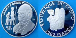 CONGO 1000 F 1999 ARGENTO PROOF 999 SILVER CHARLES DARWIN DISCOVERY RARE PESO 15g TITOLO 0,999 CONSERVAZIONE FONDO SPECC - Congo (Democratic Republic 1998)