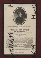 Faire-part De Décès - (1918) Memento Madame Breton Née Marie Abgrall - Obituary Notices