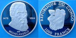CONGO 1000 F 2005 ARGENTO PROOF 999 SILVER MICHELANGELO FAMOUS PERSONALITY PESO 15g TITOLO 0,999 CONSERVAZIONE FONDO SPE - Congo (République Démocratique 1998)