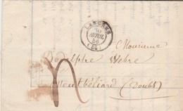 Lettre LANGRES Haute Marne 1846 Taxe Manuscrite Pour Montbéliard Doubs Passe Belfort - Marcophilie (Lettres)