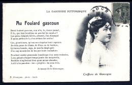 CPA ANCIENNE FRANCE- AUCH (32)- LA GASCOGNE PITTORESQUE- AU FOULARD GASCOUN- COIFURE DE GASCOGNE- TEXTE EN GASCON - Auch