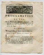 Proclamation Du Roi 1790 - Portant Que Les Présidents De Administrations De Département Sont éligibles Aux Places De Jug - Décrets & Lois