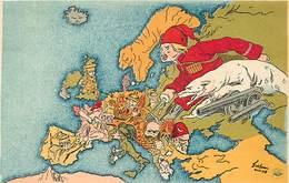 -guerre 1914-18 -ref M169- Illustrateurs - Illustrateur - L Ours Russe - Russie - Russia Et L Europe -carte Geographique - Weltkrieg 1914-18