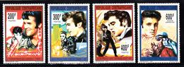 Centraal-Afrika 1993 Mi Nr 1474 - 1477, Elvis Presley, Heartbreak Hotel, Love Me Tender, Jailhouse Rock En Harem Scarum - Centraal-Afrikaanse Republiek