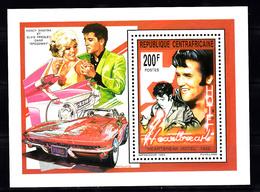 Centraal-Afrika 1993 Mi Nr Blok 531,  Elvis Presley, Heartbreak Hotel, Sportauto, Car - Centraal-Afrikaanse Republiek