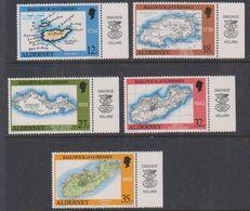 """Alderney 1989 Old Maps 5v  (""""Enschede Holland"""" In Margin) ** Mnh (38533) - Alderney"""