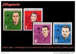 CUBA MINT. 1964-02 HOMENAJE A LOS MÁRTIRES DE LA HUELGA DEL 9 DE ABRIL DE 1958 - Cuba