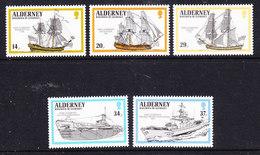 Alderney 1990 Battle Ships 5v ** Mnh (38533A) - Alderney